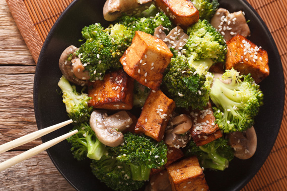 Roasted broccoli and tofu