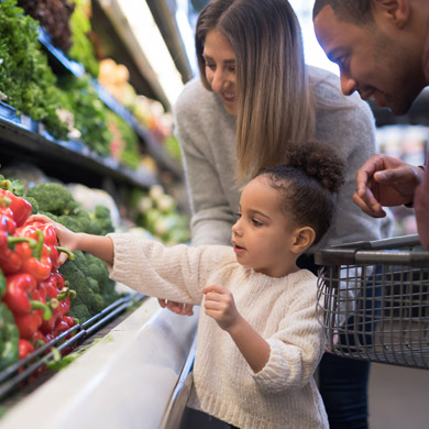 plant based grocery shopping with the family