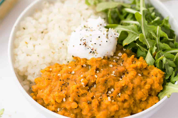 Savory Dal and Rice Bowl